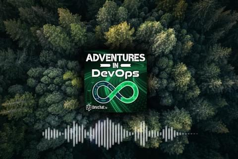 'Adventures in DevOps' logo with sound wave on an aerial photo of a forest by https://commons.wikimedia.org/wiki/File:Winding_Road_(Unsplash).jpg