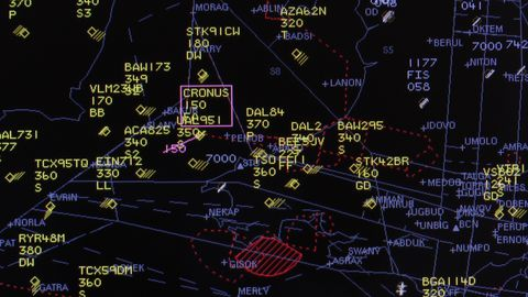 Air traffic control radar screen