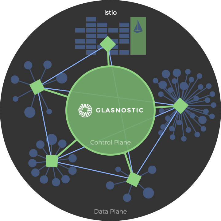 Glasnostic together with Istio in an organic architecture