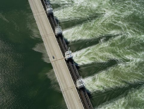 Aerial view of the Oosterscheldekering storm surge barrier