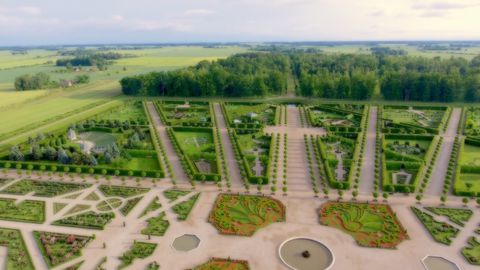 Aerial photo of Rundāle Palace's baroque garden and surrounding landscape