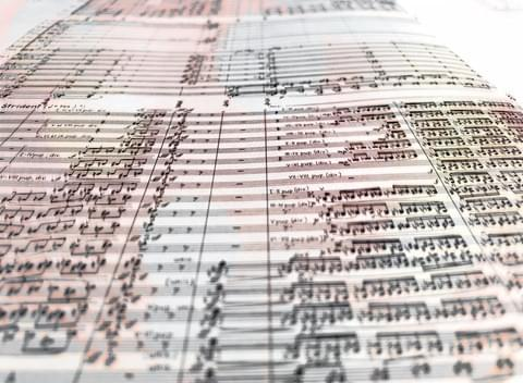 Close-up photo of an orchestral score